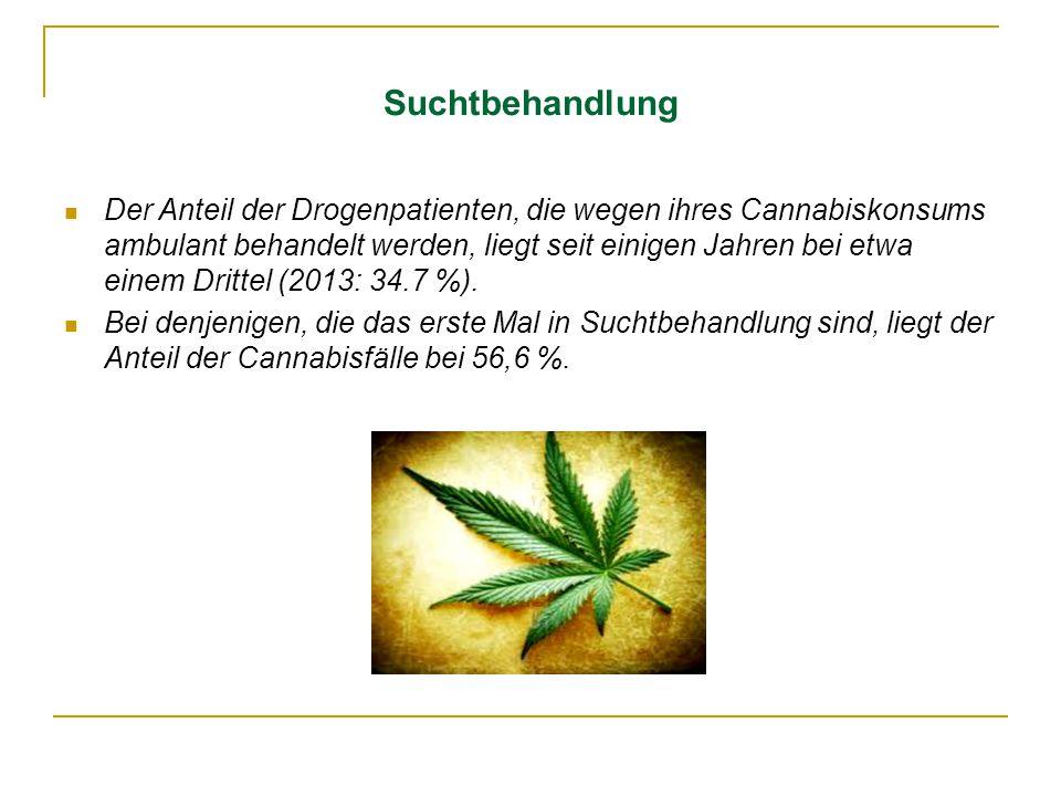 Suchtbehandlung Der Anteil der Drogenpatienten, die wegen ihres Cannabiskonsums ambulant behandelt werden, liegt seit einigen Jahren bei etwa einem Dr