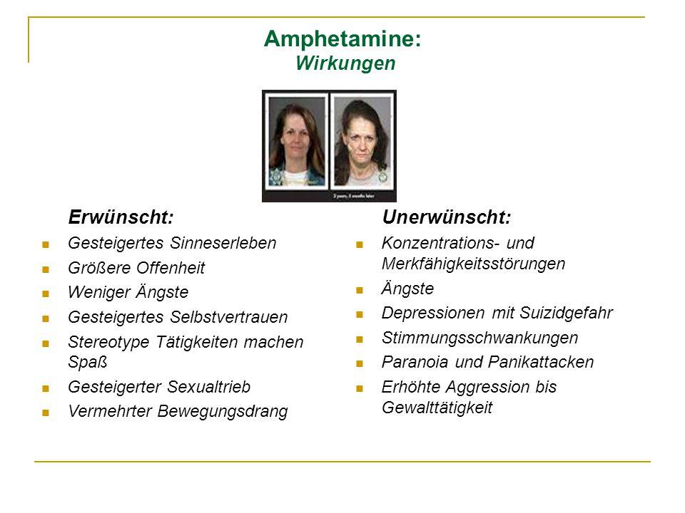 Amphetamine: Wirkungen Erwünscht: Gesteigertes Sinneserleben Größere Offenheit Weniger Ängste Gesteigertes Selbstvertrauen Stereotype Tätigkeiten mach