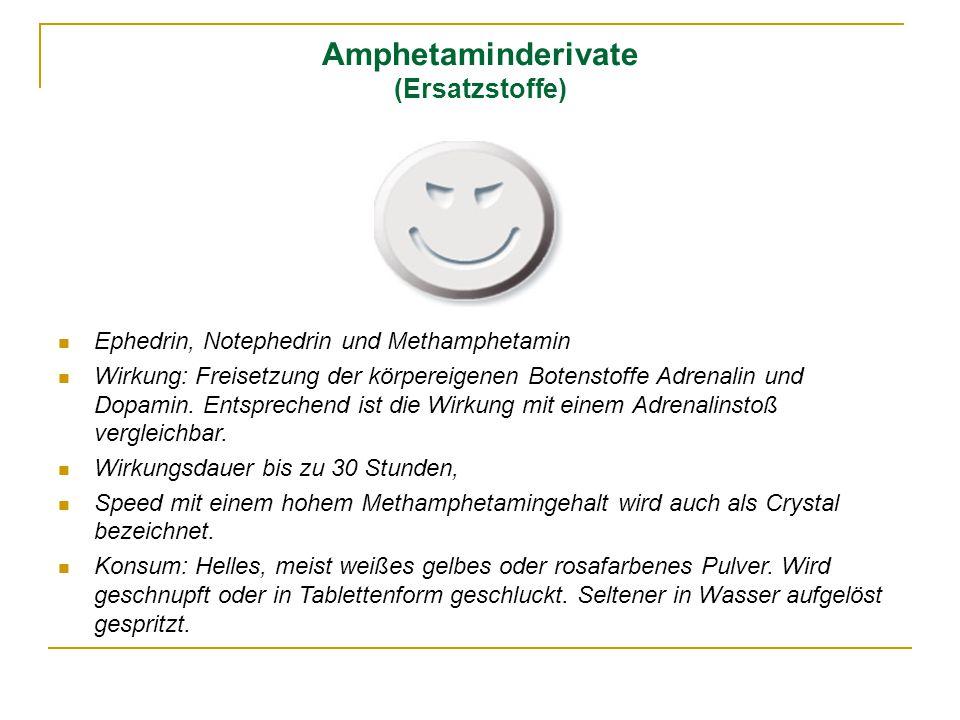 Amphetaminderivate (Ersatzstoffe) Ephedrin, Notephedrin und Methamphetamin Wirkung: Freisetzung der körpereigenen Botenstoffe Adrenalin und Dopamin. E