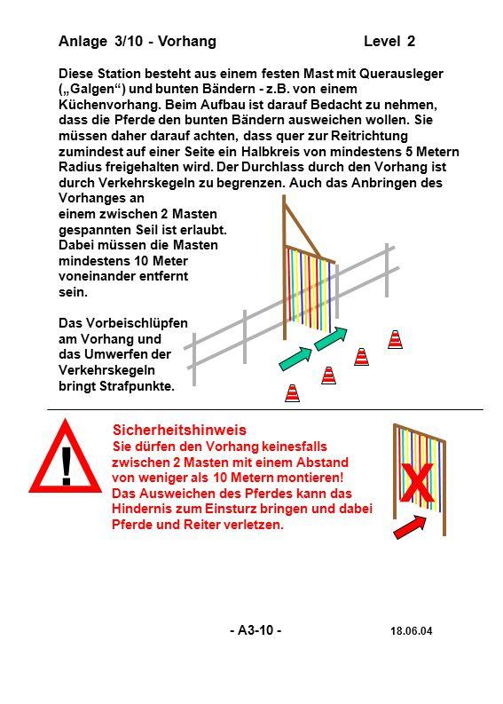 """! Anlage 3/10 - VorhangLevel 2 Diese Station besteht aus einem festen Mast mit Querausleger (""""Galgen"""") und bunten Bändern - z.B. von einem Küchenvorha"""