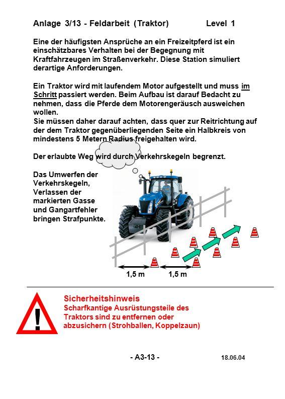 ! Sicherheitshinweis Scharfkantige Ausrüstungsteile des Traktors sind zu entfernen oder abzusichern (Strohballen, Koppelzaun) 1,5 m Anlage 3/13 - Feld