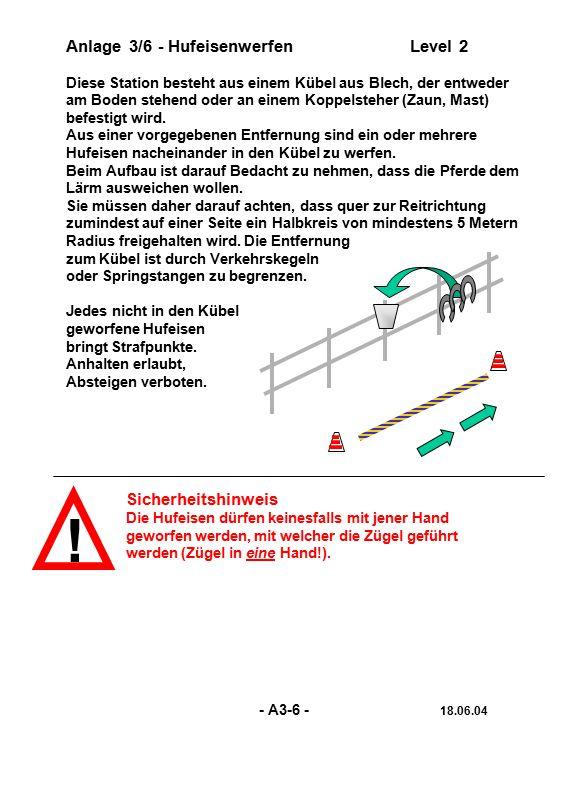 Anlage 3/17 - Seilrennen (Team)Level 1 Es werden 2 parallele Slalomstrecken aus jeweils 5 Verkehrskegeln aufgebaut.