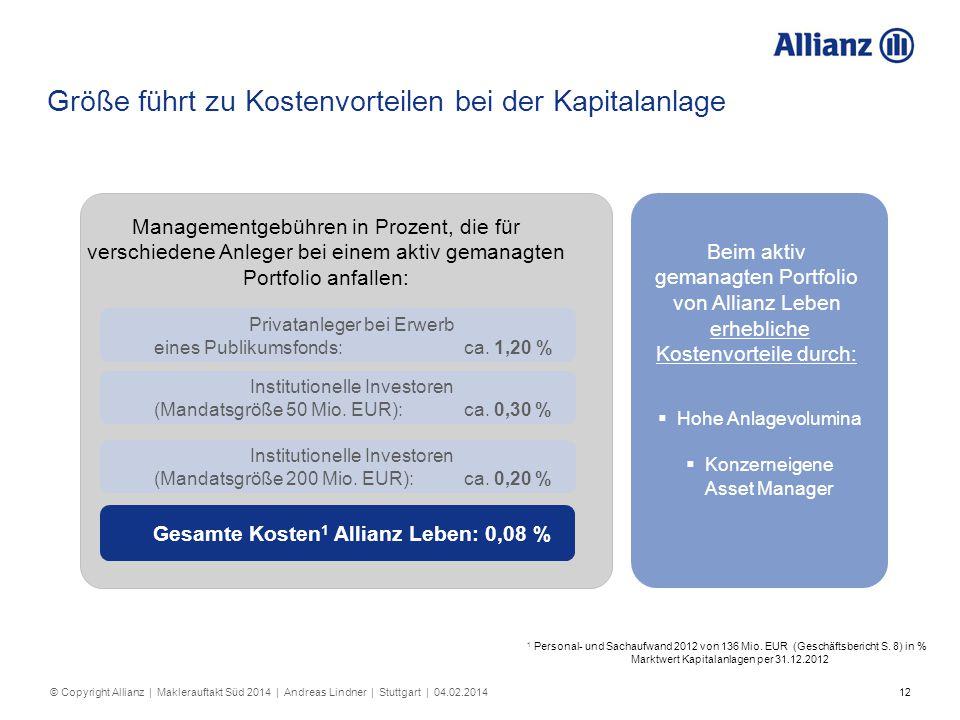 12 Größe führt zu Kostenvorteilen bei der Kapitalanlage Managementgebühren in Prozent, die für verschiedene Anleger bei einem aktiv gemanagten Portfol