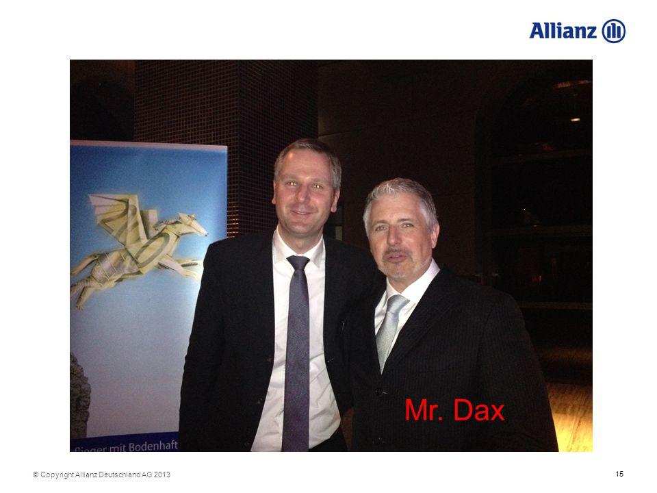 15 © Copyright Allianz Deutschland AG 2013 Mr. Dax