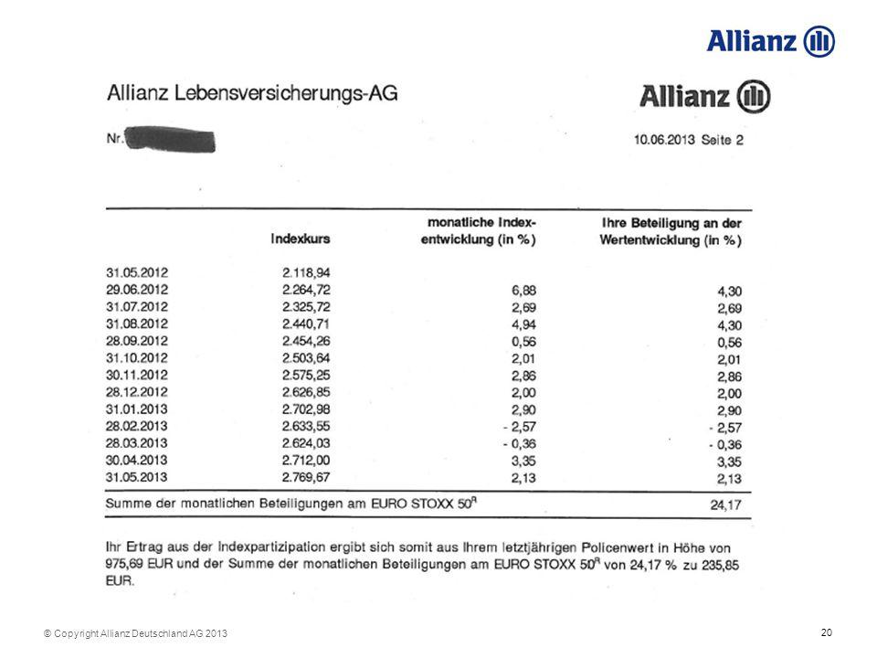 20 © Copyright Allianz Deutschland AG 2013