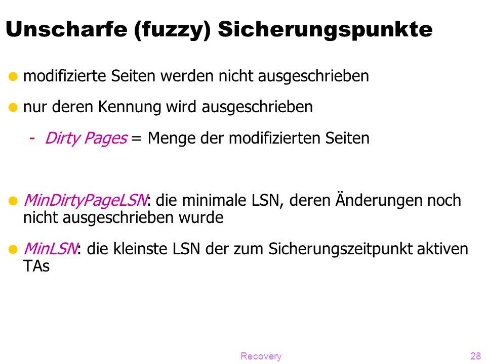 Recovery28 Unscharfe (fuzzy) Sicherungspunkte  modifizierte Seiten werden nicht ausgeschrieben  nur deren Kennung wird ausgeschrieben -Dirty Pages =