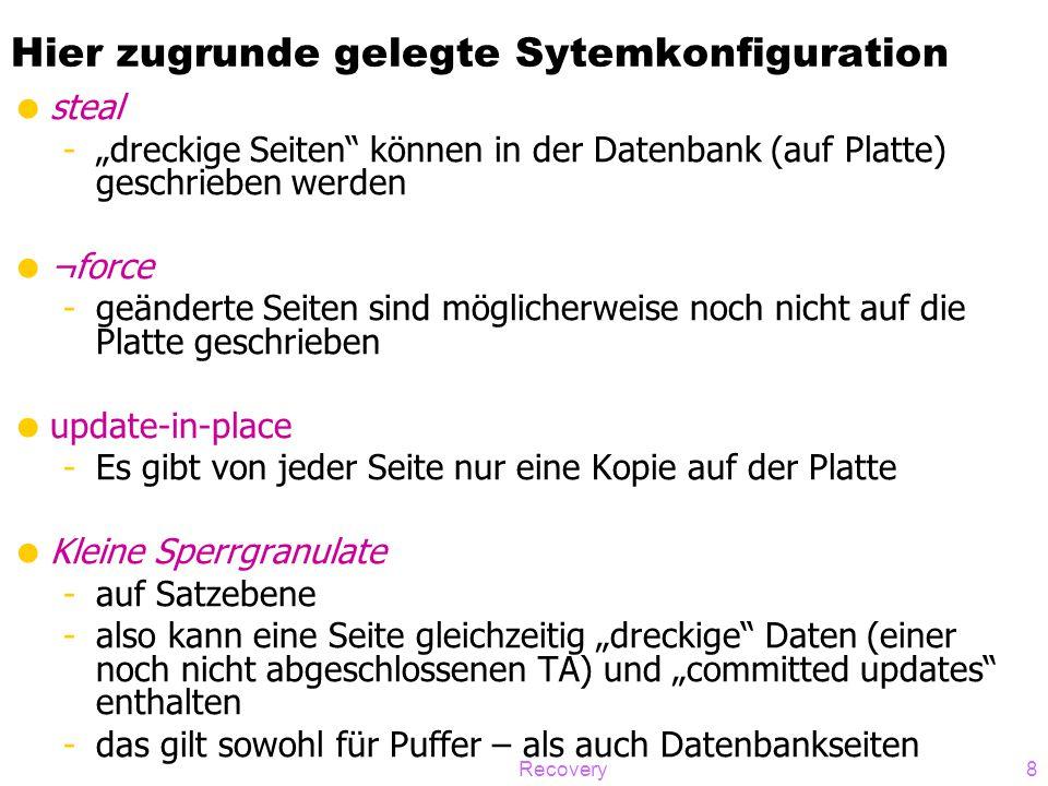 """Recovery8 Hier zugrunde gelegte Sytemkonfiguration  steal -""""dreckige Seiten"""" können in der Datenbank (auf Platte) geschrieben werden  ¬force -geände"""