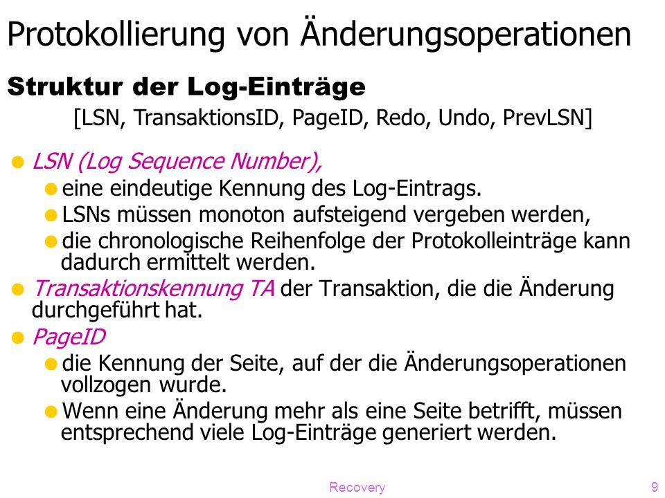 Recovery9 Protokollierung von Änderungsoperationen  LSN (Log Sequence Number),  eine eindeutige Kennung des Log-Eintrags.  LSNs müssen monoton aufs