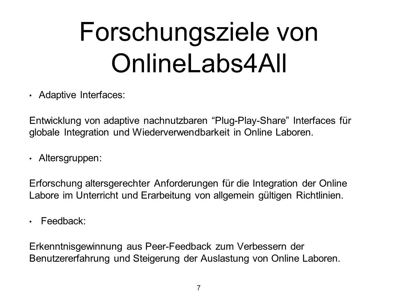 Forschungsziele von OnlineLabs4All Adaptive Interfaces: Entwicklung von adaptive nachnutzbaren Plug-Play-Share Interfaces für globale Integration und Wiederverwendbarkeit in Online Laboren.