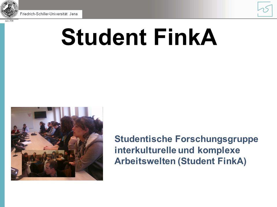 Friedrich-Schiller-Universität Jena Struktur Student FinkA besteht aus interessierten Studentinnen und Studenten, Abschlussarbeitsschreibenden, P5-Projektlern, HiWis, Mitarbeiterinnen und Mitarbeitern...