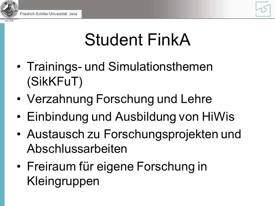 Friedrich-Schiller-Universität Jena Student FinkA Trainings- und Simulationsthemen (SikKFuT) Verzahnung Forschung und Lehre Einbindung und Ausbildung von HiWis Austausch zu Forschungsprojekten und Abschlussarbeiten Freiraum für eigene Forschung in Kleingruppen
