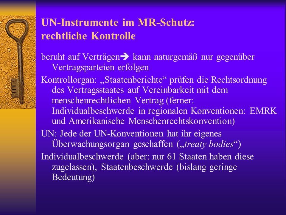 Institutionen: UN Office of the High Commisioner for Human Rights (OHCHR) * institutionalisiert auf der Wieder Konferenz 1993, * unter der Leitung des Generalsekretärs, * im Rahmen der umfassenden Kompetenz, der Aufsicht und Entscheidungen der Generalversammlung, des ECOSOC und der Menschenrechtskommission, * für vier Jahre bestimmt, * Sitz Genf und Verbindungsbüro New York