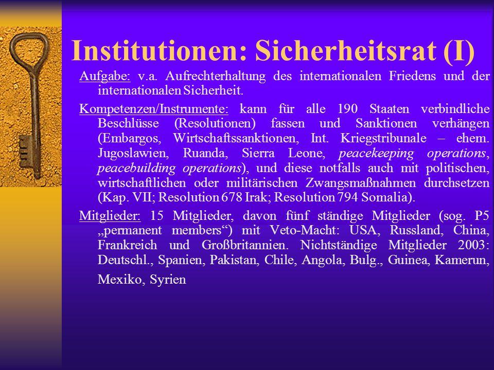 Institutionen: Sicherheitsrat (II): Berufung auf Menschenrechte: bis in die 90er Jahre v.a.