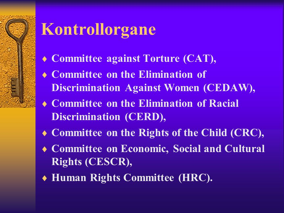 Kontrollorgane  Committee against Torture (CAT),  Committee on the Elimination of Discrimination Against Women (CEDAW),  Committee on the Eliminati