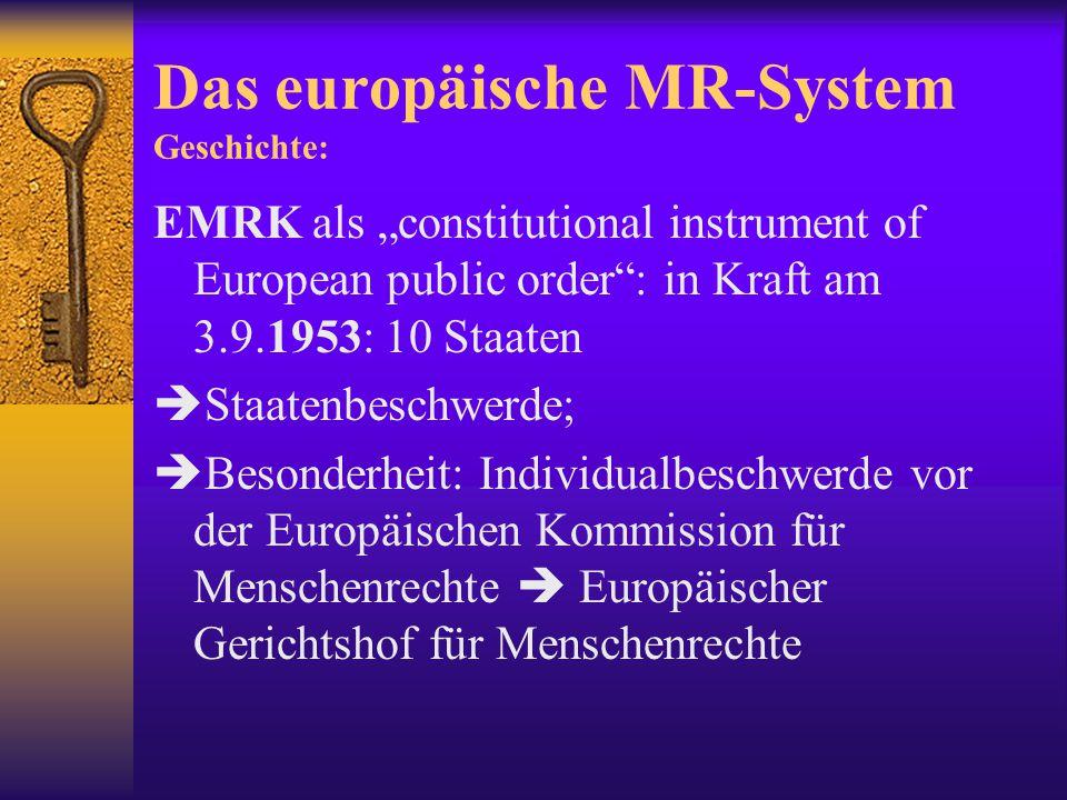 Das europäische MR-System: Die EMRK  verabschiedet am 4.11.