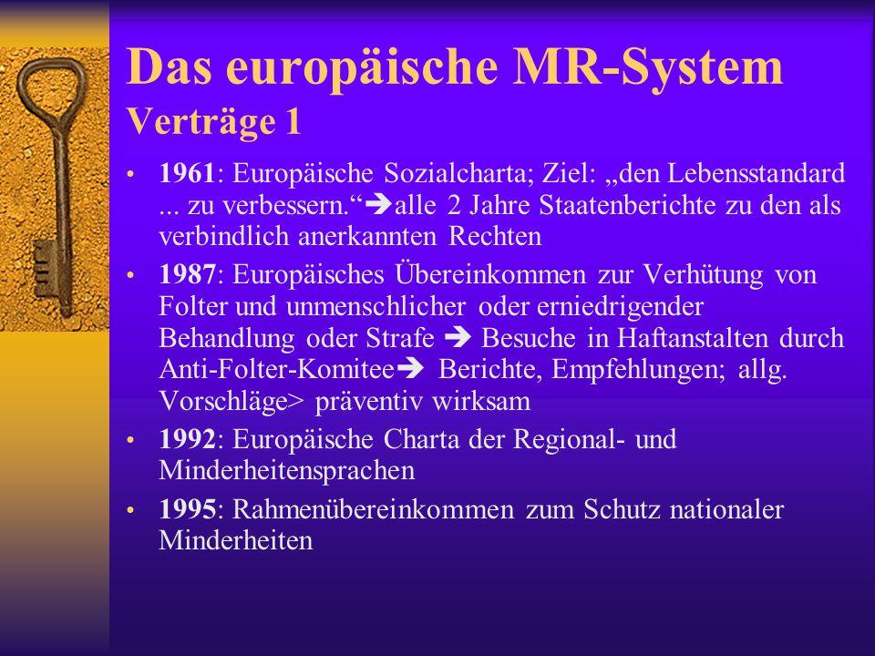 Das europäische MR-System: Verträge 2 EMRKBP-RechteEMGH; Individual- beschwerde nach Erschöpfung des innerstaatl.
