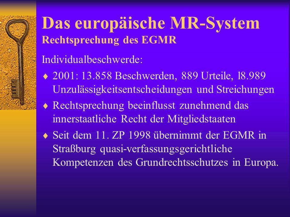 """Das europäische MR-System EG/EU  EMRK ist nur eine Rechtsgrundlage für den EuGH   Europäische Grundrechtscharta, proklamiert auf dem ER von Nizza, 2000; erarbeitet durch einen """"Konvent  zunächst ohne rechtliche Bindungswirkung, wurde stark von der EMRK beeinflusst * politische Bedeutung: """"repräsentativer Ausdruck des gegenwärtigen Grundrechtsstandards in der Gemeinschaft (Walter 2003:30): auch soziale Rechte verankert."""