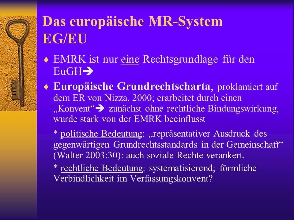 Europarat – EG/EU  EU ist nicht Mitglied des Europarats; aber:  EuGH muss die Akte der europäischen Institutionen auf die Übereinstimmung mit internationalen MR-Normen überprüfen.