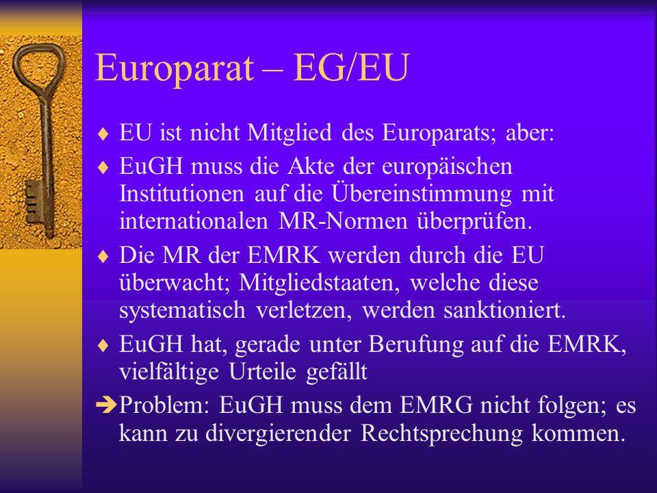 Europarat - EU Historische Entwicklung   Überlappung der Instrumente  Konflikte zwischen den Verträgen