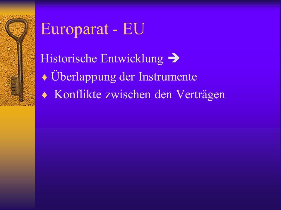 Das europäische MR-System Grundfreiheiten in der EG/EU Freier Verkehr von - Waren - Personen - Dienstleistungen - Kapital (Art.