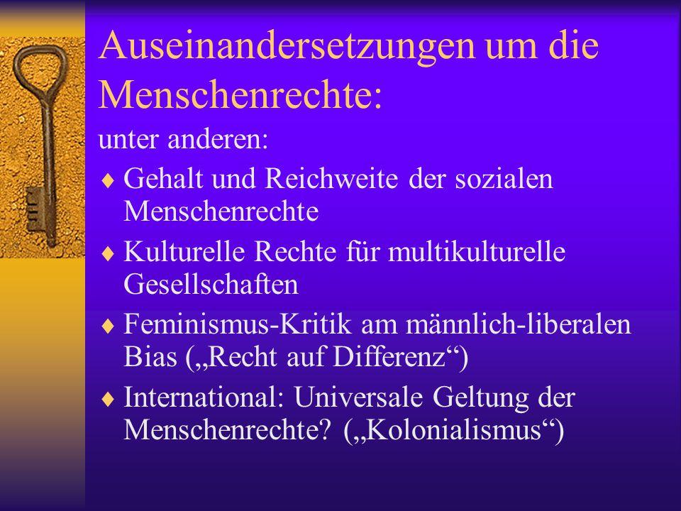 Teil 2: Internat.Menschenrechtsschutz 1. Kodifizierung der Menschenrechte: international 2.