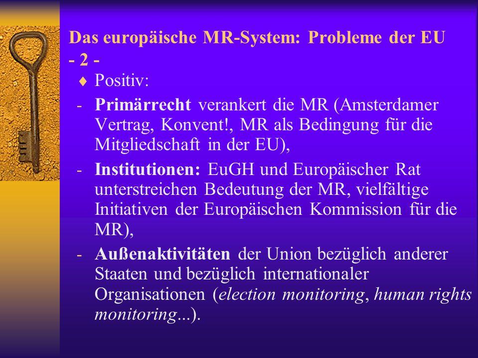 Das europäische MR-System: Probleme der EU - 3 -  Negativ: keine ausgeprägte und kohärente MR- Politik, v.a.