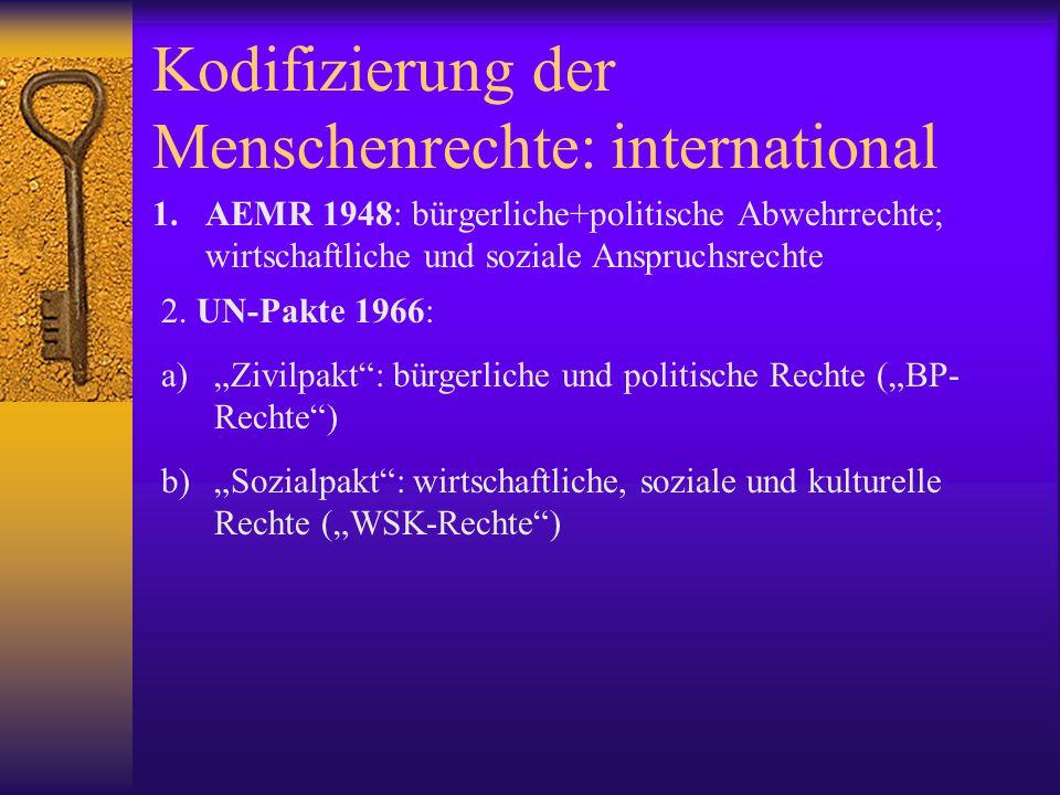 Kodifizierung der Menschenrechte: regional  EMRK 1950 (in Kraft 1953)  AMK 1969 (OAS)  Afrikanische Charta der Rechte der Menschen und Völker 1981  Arabische Charta der Menschenrechte 1994 (Liga der Arabischen Staaten)