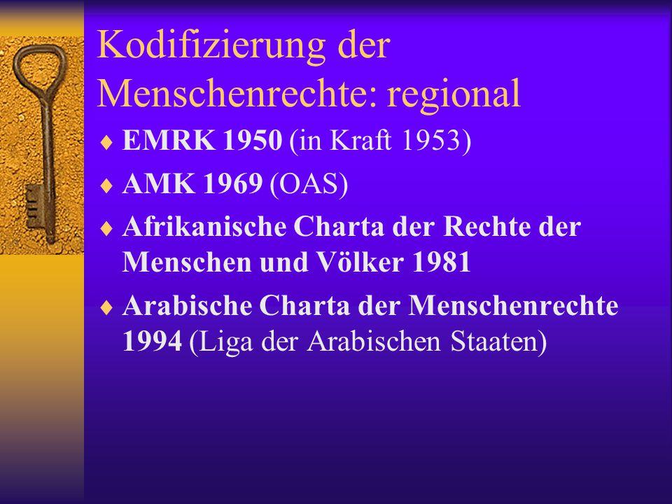 """AEMR  Verbindlichkeit in """"Stufen durchgesetzt 1948: zunächst unverbindlich, Problem: Ost-West: liberale Freiheitsrechte vs."""