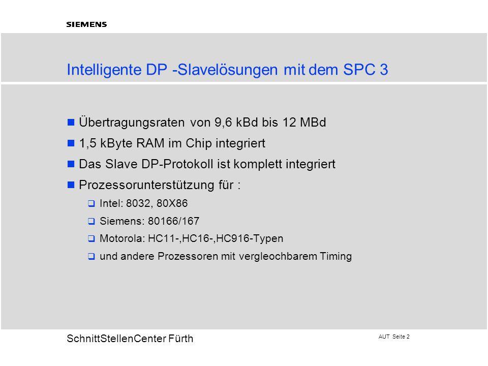 AUT Seite 2 20 SchnittStellenCenter Fürth Intelligente DP -Slavelösungen mit dem SPC 3 Übertragungsraten von 9,6 kBd bis 12 MBd 1,5 kByte RAM im Chip integriert Das Slave DP-Protokoll ist komplett integriert Prozessorunterstützung für :  Intel: 8032, 80X86  Siemens: 80166/167  Motorola: HC11-,HC16-,HC916-Typen  und andere Prozessoren mit vergleochbarem Timing