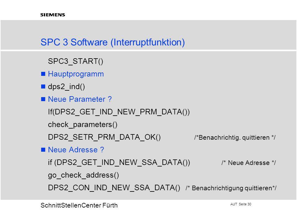 AUT Seite 30 20 SchnittStellenCenter Fürth SPC 3 Software (Interruptfunktion)  SPC3_START() Hauptprogramm dps2_ind() Neue Parameter ?  If(DPS2_GET_I