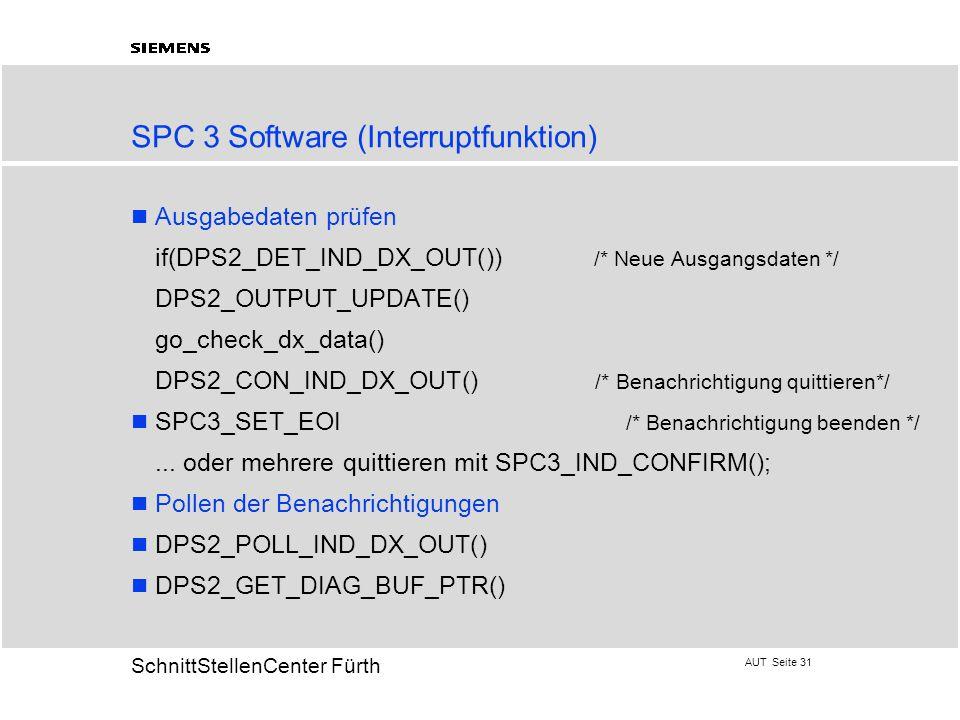 AUT Seite 31 20 SchnittStellenCenter Fürth Ausgabedaten prüfen  if(DPS2_DET_IND_DX_OUT()) /* Neue Ausgangsdaten */  DPS2_OUTPUT_UPDATE()  go_check_dx_data()  DPS2_CON_IND_DX_OUT() /* Benachrichtigung quittieren*/ SPC3_SET_EOI /* Benachrichtigung beenden */ ...