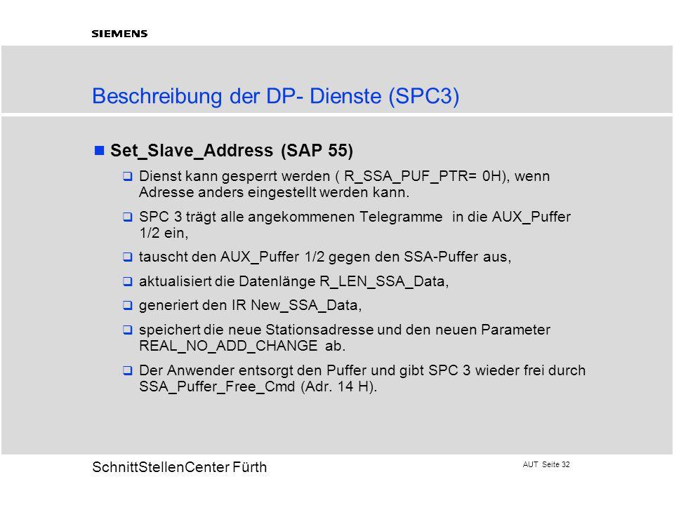 AUT Seite 32 20 SchnittStellenCenter Fürth Beschreibung der DP- Dienste (SPC3) Set_Slave_Address (SAP 55)  Dienst kann gesperrt werden ( R_SSA_PUF_PT
