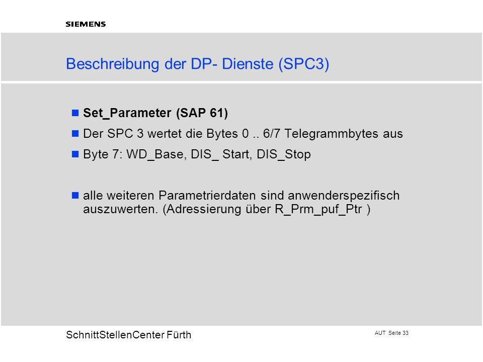 AUT Seite 33 20 SchnittStellenCenter Fürth Beschreibung der DP- Dienste (SPC3) Set_Parameter (SAP 61) Der SPC 3 wertet die Bytes 0.. 6/7 Telegrammbyte