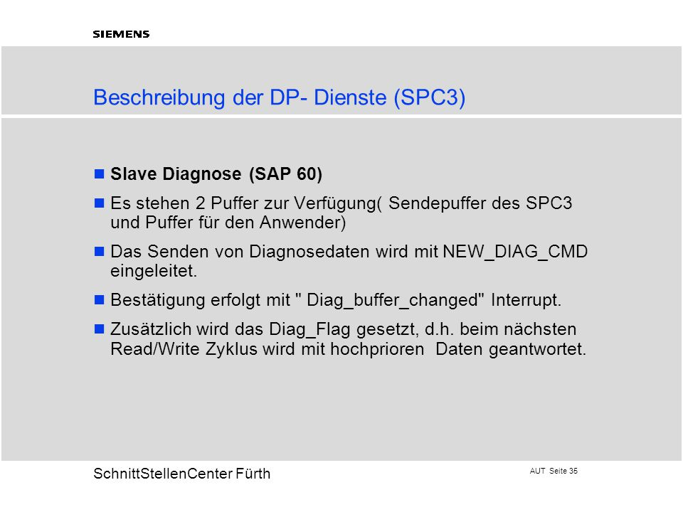 AUT Seite 35 20 SchnittStellenCenter Fürth Beschreibung der DP- Dienste (SPC3) Slave Diagnose (SAP 60) Es stehen 2 Puffer zur Verfügung( Sendepuffer des SPC3 und Puffer für den Anwender) Das Senden von Diagnosedaten wird mit NEW_DIAG_CMD eingeleitet.