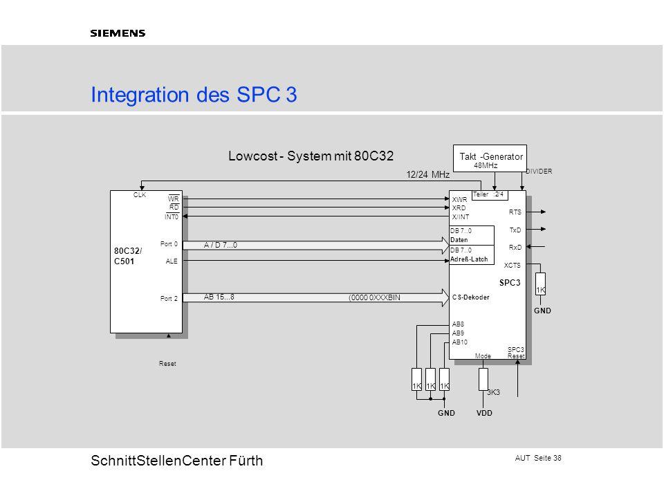 AUT Seite 38 20 SchnittStellenCenter Fürth Integration des SPC 3 AB 15...8 Takt -Generator 48MHz 80C32/ C501 Port 0 ALE Port 2 CLK XWR XRD X/INT AB8 AB9 AB10 Lowcost - System mit 80C32 1K 3K3 Mode GNDVDD RTS TxD RxD XCTS 1K GND SPC3 Reset SPC3 CS-Dekoder DB 7..0 Daten DB 7..0 Adreß-Latch A / D 7...0 (0000 0XXXBIN WR RD INT0 1K Teiler:2/4 DIVIDER 12/24 MHz