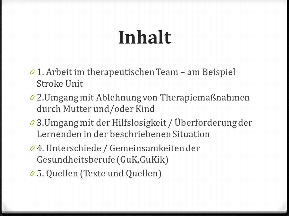 Inhalt 0 1. Arbeit im therapeutischen Team – am Beispiel Stroke Unit 0 2.Umgang mit Ablehnung von Therapiemaßnahmen durch Mutter und/oder Kind 0 3.Umg