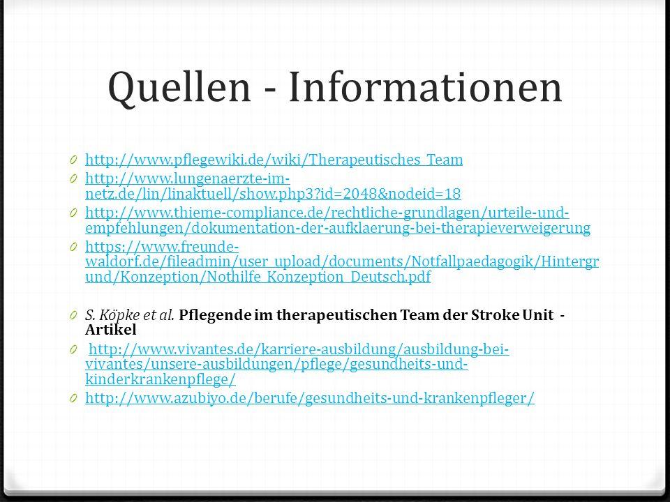 Quellen - Informationen 0 http://www.pflegewiki.de/wiki/Therapeutisches_Team http://www.pflegewiki.de/wiki/Therapeutisches_Team 0 http://www.lungenaer