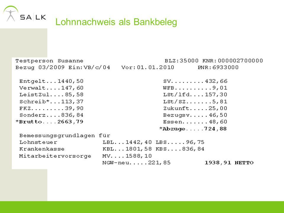 Lohnnachweis als Bankbeleg