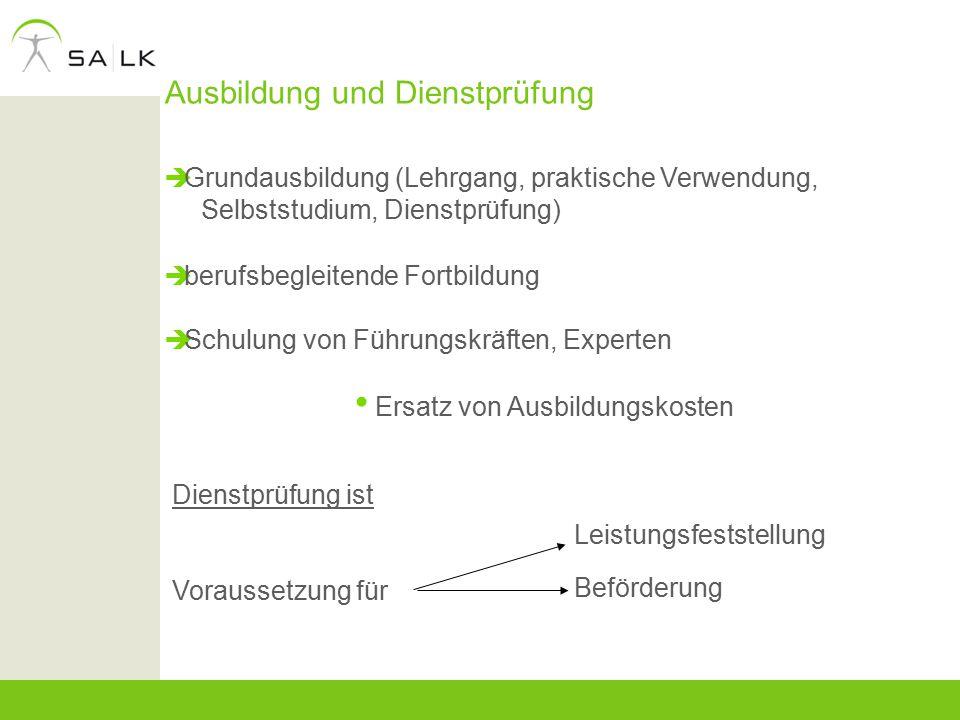 Ausbildung und Dienstprüfung  Grundausbildung (Lehrgang, praktische Verwendung, Selbststudium, Dienstprüfung)  berufsbegleitende Fortbildung  Schul