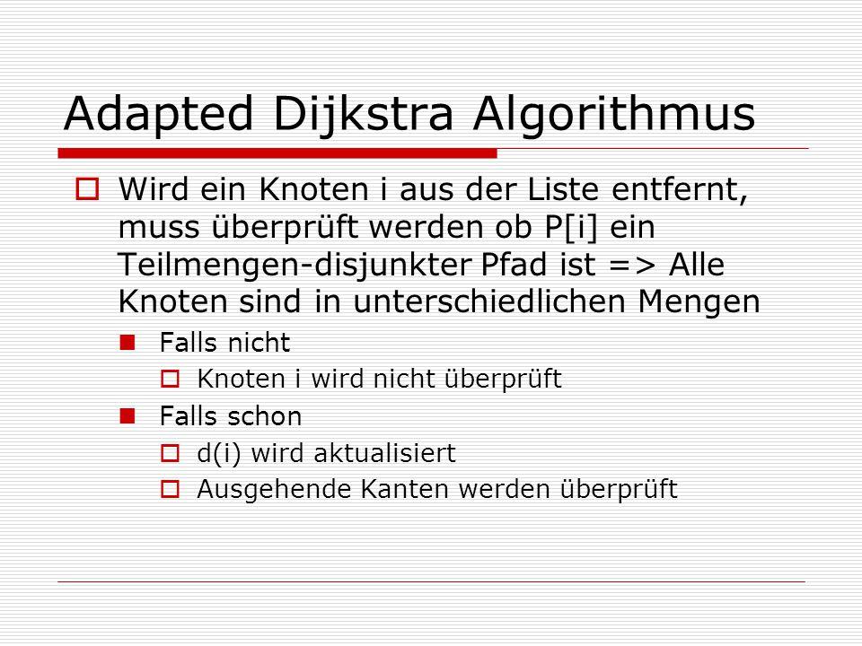 Adapted Dijkstra Algorithmus  Wird ein Knoten i aus der Liste entfernt, muss überprüft werden ob P[i] ein Teilmengen-disjunkter Pfad ist => Alle Knot
