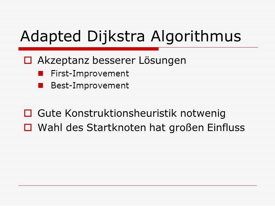 Adapted Dijkstra Algorithmus  Akzeptanz besserer Lösungen First-Improvement Best-Improvement  Gute Konstruktionsheuristik notwenig  Wahl des Startknoten hat großen Einfluss