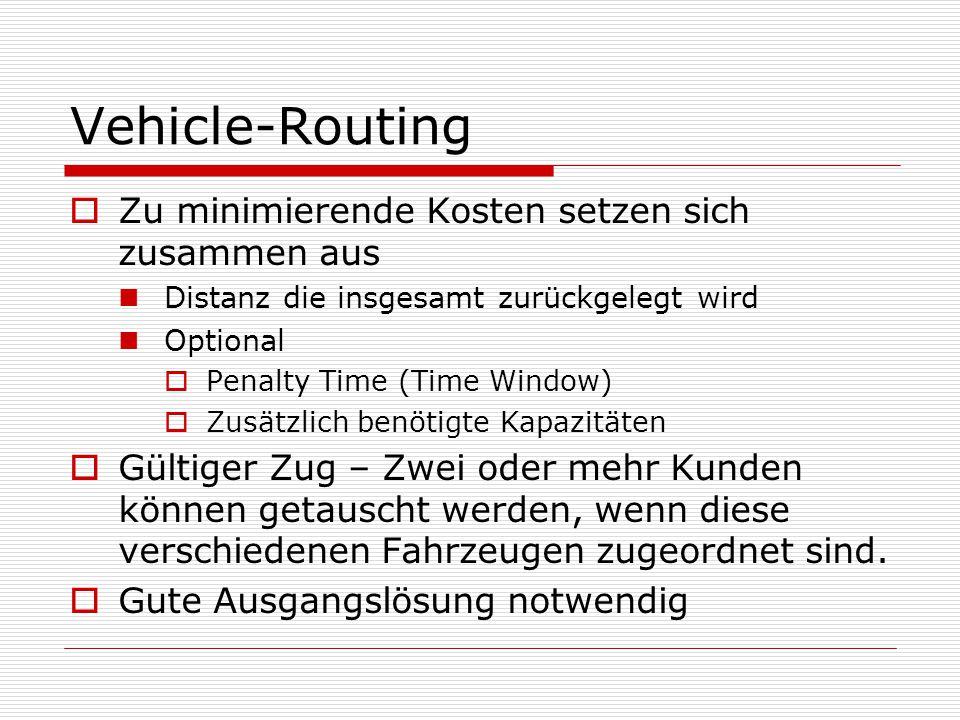 Vehicle-Routing  Zu minimierende Kosten setzen sich zusammen aus Distanz die insgesamt zurückgelegt wird Optional  Penalty Time (Time Window)  Zusätzlich benötigte Kapazitäten  Gültiger Zug – Zwei oder mehr Kunden können getauscht werden, wenn diese verschiedenen Fahrzeugen zugeordnet sind.
