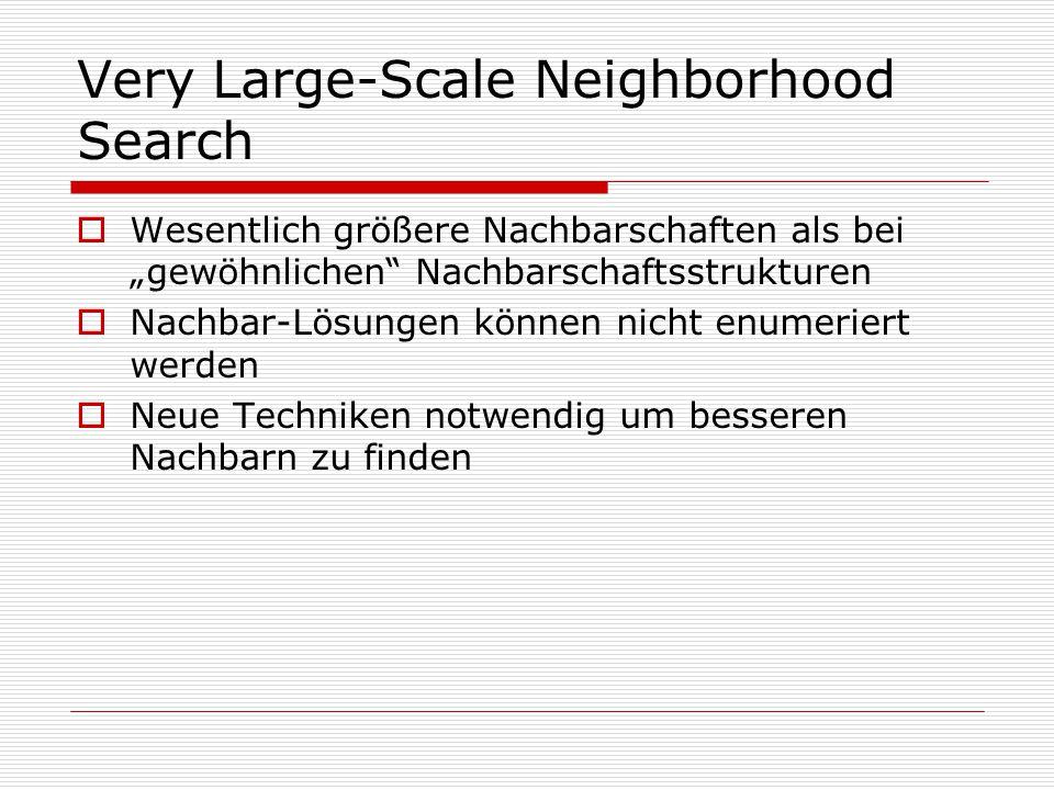 """Very Large-Scale Neighborhood Search  Wesentlich größere Nachbarschaften als bei """"gewöhnlichen Nachbarschaftsstrukturen  Nachbar-Lösungen können nicht enumeriert werden  Neue Techniken notwendig um besseren Nachbarn zu finden"""