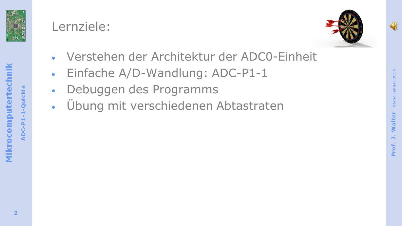 Mikrocomputertechnik ADC-P1-1-Quickie Prof. J. Walter Stand Januar 2015 2 Lernziele:  Verstehen der Architektur der ADC0-Einheit  Einfache A/D-Wandl