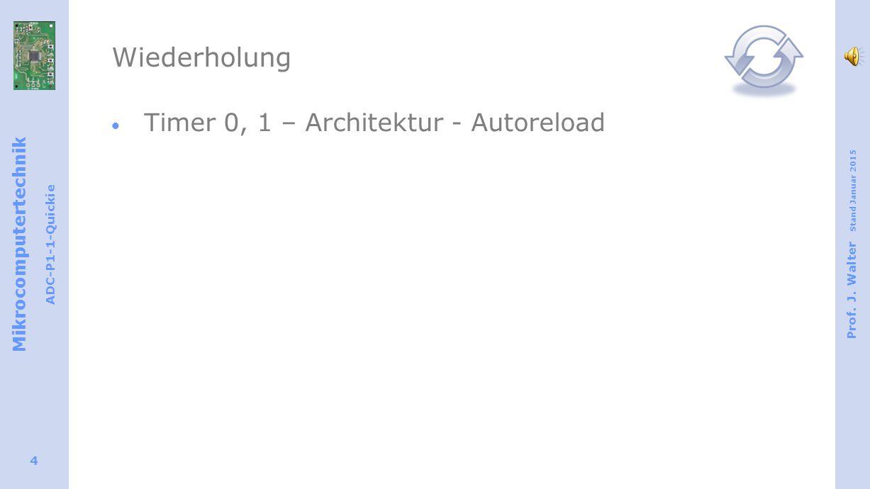 Mikrocomputertechnik ADC-P1-1-Quickie Prof. J. Walter Stand Januar 2015 4 Wiederholung  Timer 0, 1 – Architektur - Autoreload