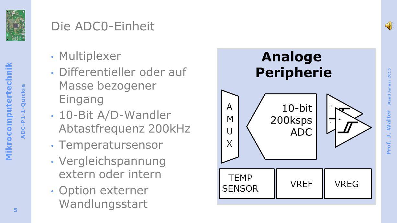 Mikrocomputertechnik ADC-P1-1-Quickie Prof. J. Walter Stand Januar 2015 5 Die ADC0-Einheit Multiplexer Differentieller oder auf Masse bezogener Eingan
