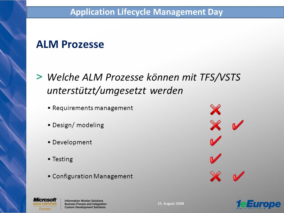 Application Lifecycle Management Day 25. August 2008 ALM Prozesse > Welche ALM Prozesse können mit TFS/VSTS unterstützt/umgesetzt werden Requirements