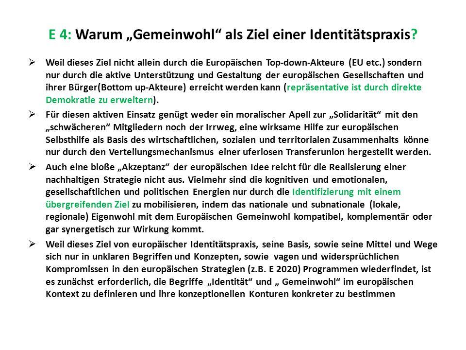 """E 4: Warum """"Gemeinwohl"""" als Ziel einer Identitätspraxis?  Weil dieses Ziel nicht allein durch die Europäischen Top-down-Akteure (EU etc.) sondern nur"""