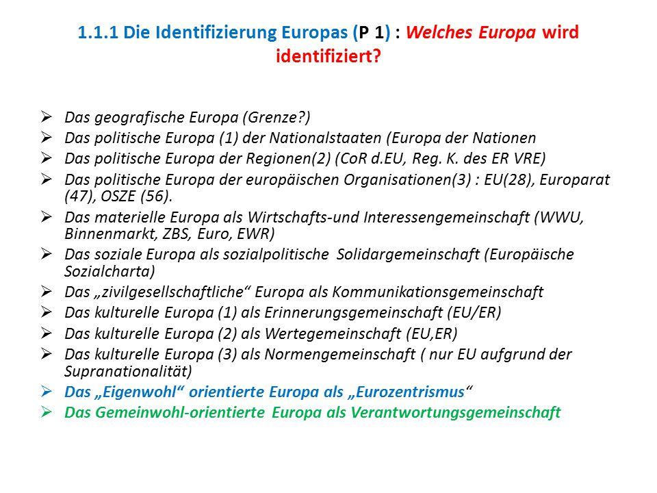 1.1.1 Die Identifizierung Europas (P 1) : Welches Europa wird identifiziert?  Das geografische Europa (Grenze?)  Das politische Europa (1) der Natio
