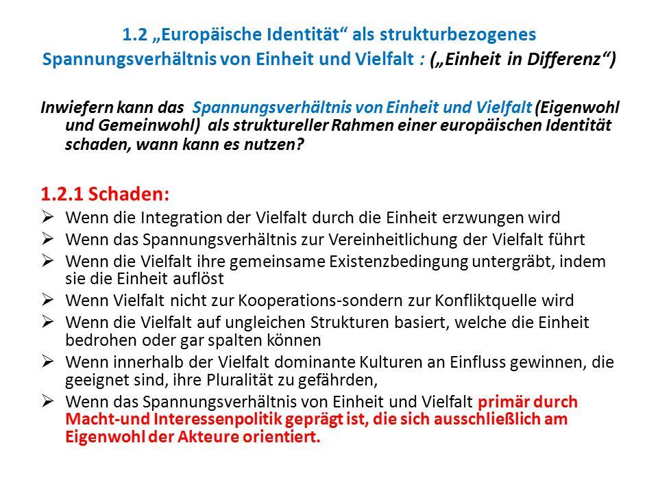 """1.2 """"Europäische Identität"""" als strukturbezogenes Spannungsverhältnis von Einheit und Vielfalt : (""""Einheit in Differenz"""") Inwiefern kann das Spannungs"""